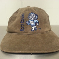 Vintage 90's UNC Chapel Hill Tar Heels Rams Brownish Green Strapback Dad Hat NCAA College Basketball Made By Signature Retro Hipster Style