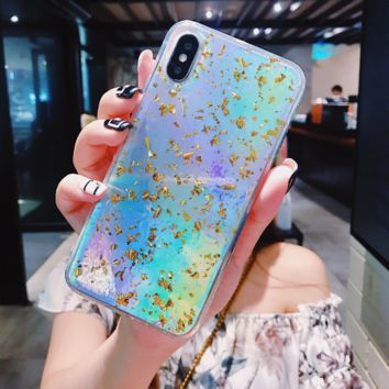 Holo Gold Flakes iPhone Case