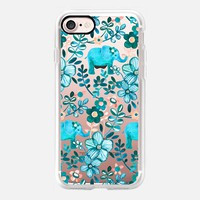 Little Turquoise Elephant Watercolor Floral on transparent iPhone 7 Case by Micklyn Le Feuvre | Casetify