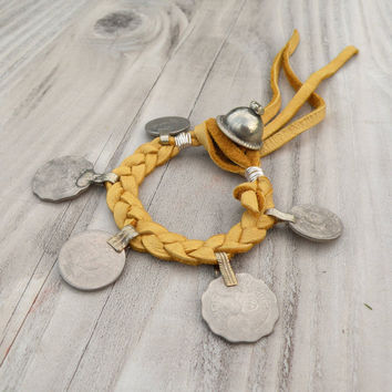 Gypsy Coin Bracelet, Sunny Yellow Buckskin Leather, Adjustable, Tribal Belly Dance Anklet