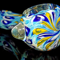 Blueberry Lightning - Glass Spoon Pipe Tobacco Smoking Bowl w Amazing Swirled Top - Fumed Color Changing Deep Bowl Inside Out Blues & Yellow