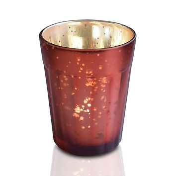 Vintage Mercury Glass Candle Holder (3.25-Inch, Katelyn Design, Column Motif, Rustic Copper Red) - For Use with Tea Lights - For Home Decor, Parties and Wedding Decorations