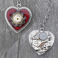 REVERSIBLE Red Heart Pendant: Clockpunk Steampunk RESERVED for Tony Boenzi, Gear-Encrusted Antiqued Silver & Red Heart/Watch on Curb Link