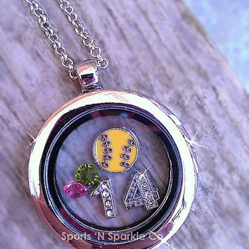 Customized Floating Locket on Chain Necklace with ONE Sport Ball Charm, Jersey Numbers and Two Crystal Charms Personalized Your Way