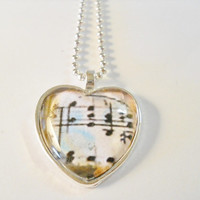 Necklace, Heart Glass Pendent, I have a Song in my Heart,Music Score, SP pendent tray, ball chain