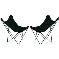 Pair (2) Mid Century Modern Butterfly Chairs Wrought Iron Black Wire Sling Seats Knoll Eames Baughman Marcel Breuer Black Canvas Bench Seat