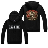 SOA Sons of anarchy the child new Fashion SAMCRO Men Sportswear Hoodies Male Zipper Casual Sweatshirt Winter Hip Hop Warm Hoody