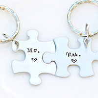 His and Hers Keychains - Couples Keychain - Puzzle Piece Keychain Set _ Hand Stamped Mr. and Mrs. Keychains - Wedding Anniversary Gift