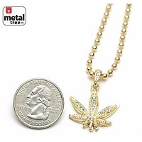"""Jewelry Kay style Men's Fashion Iced Out Weed Marijuana Pendant 20"""" Ball Chain Necklace MMP 824 G"""
