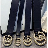 GUCCI New Fashion Pearl Buckle Wide Leather Belt With Double G