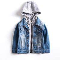 Windproof Warm Baby Boys Denim Jackets Hooded Child Coat Children Outerwear For 3-10 Years Old