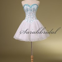 Women White Beaded Short Prom Homecoming Dresses Cocktail Party Formal Ball Gown