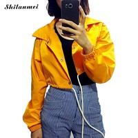 2018 Yellow Jacket Women Spring Coat Drawstring Lace Up Crop Top Short Jackets Windbreaker Outerwear Womens Punk Bomber Jacket