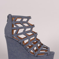 Qupid Denim Geometric Cage Platform Wedge