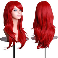 28 inch Wavy Curly Cosplay Wig With Free Wig Cap and Comb (Red)