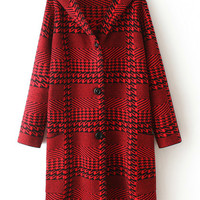 Red Plaid Hooded Coat