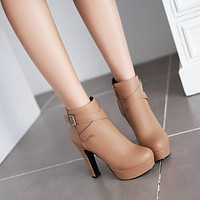 Buckle Ankle Boots High Heels Women Shoes Fall|Winter 5349