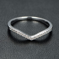 14k White Gold Stackable Curved Diamond Wedding Band Engagement Ring Anniversary Ring