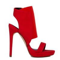 Open Toe Elastic Ankle Strap Red Heels