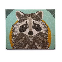 "Art Love Passion ""Racoon in Grass"" Gray Teal Birchwood Wall Art"
