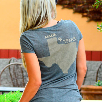 MADE IN TEXAS TEE IN CHARCOAL