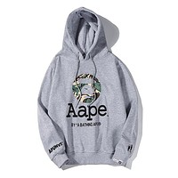 Bape Aape hot seller of stylish couple print casual cotton padded hoodies Gray
