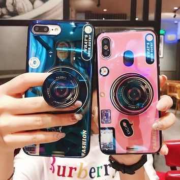 Kickstand Phone Case For iPhone 6S 6 7 8 X 10 Plus Case Silicone Cute Camera Stand Holder Cover For iPhone 6 S 6Plus Case 7 8 X
