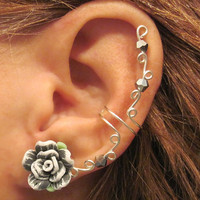 "Cartilage Ear Cuff ""Summer Rose"" Grey & White Wedding Prom Bridal No Piercing Helix Conch"