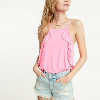express one eleven washed side ruffle cami
