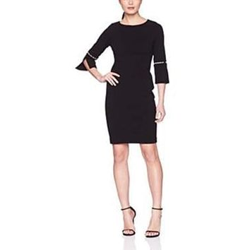 Calvin Klein Solid Sheath w/ Detailed Split Sleeve Dress size 4