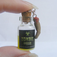 Zombie Virus Bottle Halloween Glow in the Dark Pendant Necklace Miniature Food Jewelry