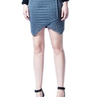 Krisa Asymmetrical Mini Skirt | Quilted Skirt