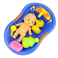 7 Pcs Funny Baby Bathtime Doll in Bath Tub with Shower Accessories Set Kids Role Play Toys Xmas Gift Red Blue