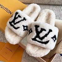 LV Louis Vuitton Womens Fluff Yeah Slides Shoes
