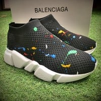 Best Online Sale Fashion Balenciaga Speed stretch-knit Mid Black White Socks Shoes Sport Shoes