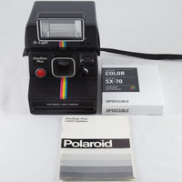 Vintage Polaroid OneStep SX-70 Rainbow Stripe Instant Land Camera with Q-Light Flash and 1 Pack of Impossible Project Film Tested & Working