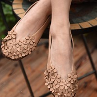 Handmade Leather Flat Loafer Shoes with Flowers for Women