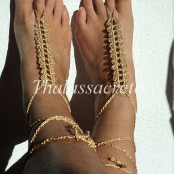 Gold Crochet Barefoot Sandals,Handmade Bohemian,, Hippie, Thongs,Foot Wrap, Anklets, Tribal, Sandles