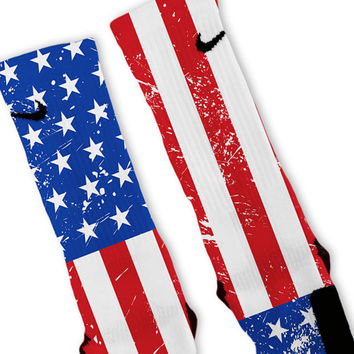 American Flip USA Flag Patriotic Custom Nike Elite Socks