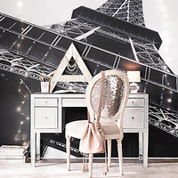 Vintage French Sequin Desk Chair - Silver