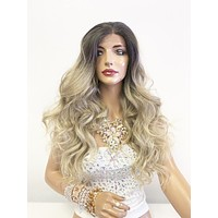 "Balayage Blonde SWISS Lace Front Wig 22"" + 2"" multi parting 0619"