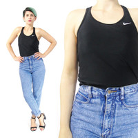 90s Nike Crop Top Sporty Spandex Tank Top Nike Sports Bra Athletic Health Goth Workout Racerback Tank Womens Black and White Swim Top (S/M)