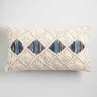 Beige and Blue Macrame Indoor Outdoor Lumbar Pillow