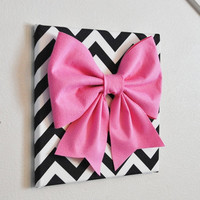 """MOTHERS DAY SALE Wall Decor - Large Pink Bow on Black and White Chevron 12 x12"""" Canvas Wall Art- Baby Nursery Wall Decor- Zig Zag"""