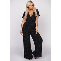Find Me Where The Wild Things Are Polka Dot Jumpsuit (Black)
