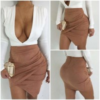 Women High Waist Suede Leather Pocket Preppy Short Mini Skirts