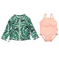 "Girls' One-Piece Swimsuit & Long Sleeve Rash Guard Set - ""Palm Leaf"""