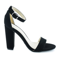 Rampage04s Black By Bamboo, classic high heel Sandal w ankle strap chunky block heel