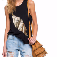 HDY Womens Black Loose Fitting Gold Applique Feather T-Shirt Tank Top