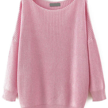 Pink Boat Neck Ribbed Sweater